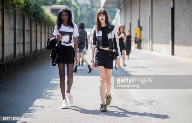 Models seen outside Diesel during Milan Men's Fashion Week Spring/Summer 2018 on June 17 2017 in Milan Italy