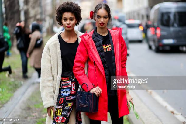 Models seen outside Dolce Gabbana during Milan Fashion Week Fall/Winter 2018/19 on February 25 2018 in Milan Italy
