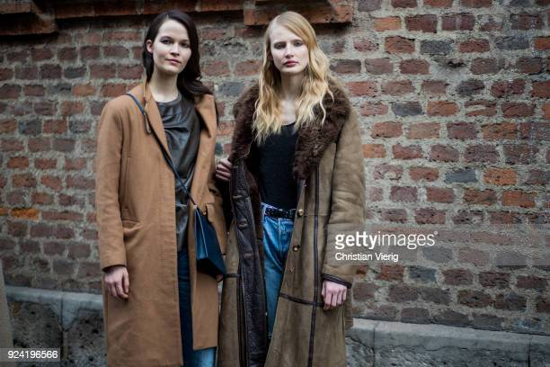Models seen outside Ermanno Scervino during Milan Fashion Week Fall/Winter 2018/19 on February 24 2018 in Milan Italy