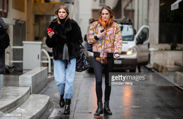 Models seen outside Stephane Rolland during Haute Couture Spring Summer 2019 Day Two on January 22 2019 in Paris France