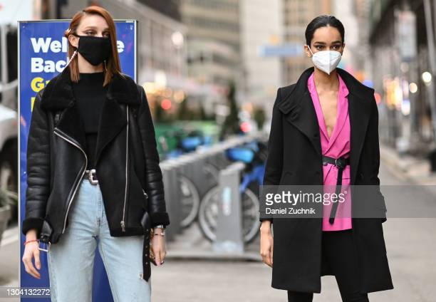 Models seen outside the Christian Siriano show during New York Fashion Week F/W21 on February 25, 2021 in New York City.