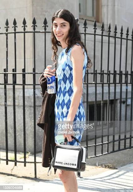 Models seen outside the Maryam Nassir Zadeh show during New York Fashion Week S/S 22 on September 08, 2021 in New York City.