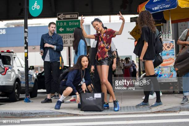 Models Selena Forrest and Adesuwa Aighewi exit the Coach show during New York Fashion Week Spring/Summer 2018 on September 12 2017 in New York City...