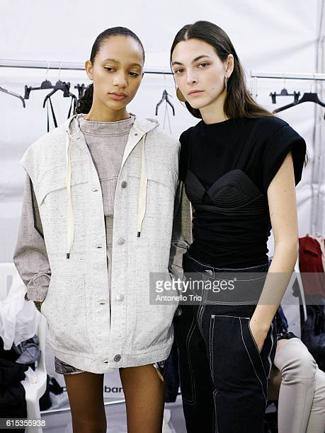 Models Selena Forrest and Vittoria Ceretti poses prior the Isabel Marant show as part of the Paris Fashion Week Womenswear Spring/Summer 2017 on...