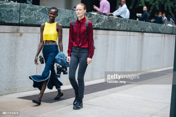 Models Shanelle Nyasiase Victoria Schons during New York Fashion Week Spring/Summer 2018 on September 12 2017 in New York City Shanelle wears a lace...