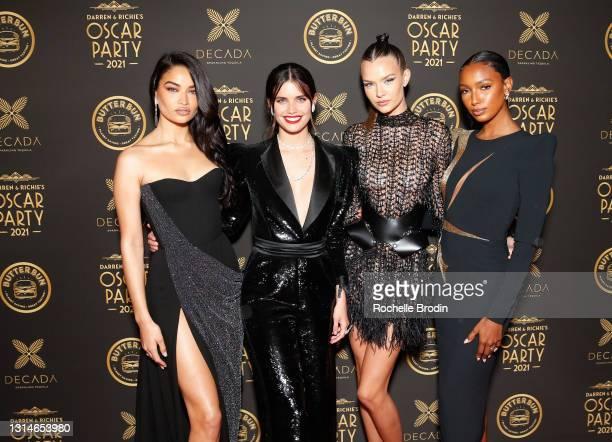 Models: Shanina Shaik, Sara Sampaio, Josephine Skirver, and, Jasmine Tookes attend Darren Dzienciol & Richie Akiva's Oscar Party 2021 on April 25,...