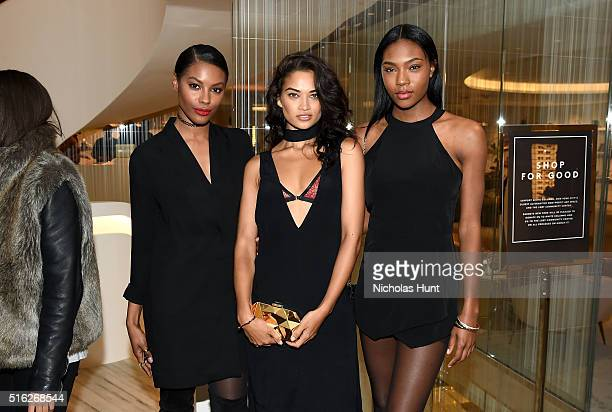 Models Sharam Diniz Shanina Shaik and Afiya Bennett attend as Barneys New York celebrates its new downtown flagship in New York City on March 17 2016...
