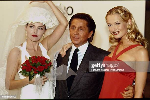 Models Sharon Stone and Karen Mulder join Valentino Garavani at his 1994 SpringSummer fashion show in Paris