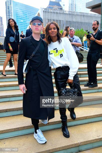 Models Shaun Ross and Liya Kebede are seen arriving to the Longchamp SS20 Runway Show at Hearst Plaza Lincoln Center during NYC Fashion Week on...