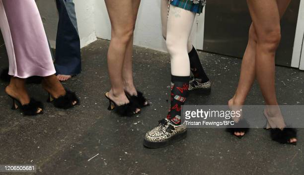 Models shoe detail backstage ahead of the Mimi Wade show during London Fashion Week February 2020 at the Fashion Scout Venue on February 15 2020 in...