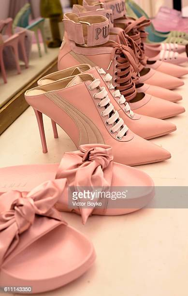 Model's shoes are seen backstage during FENTY x PUMA by Rihanna at Hotel Salomon de Rothschild on September 28 2016 in Paris France