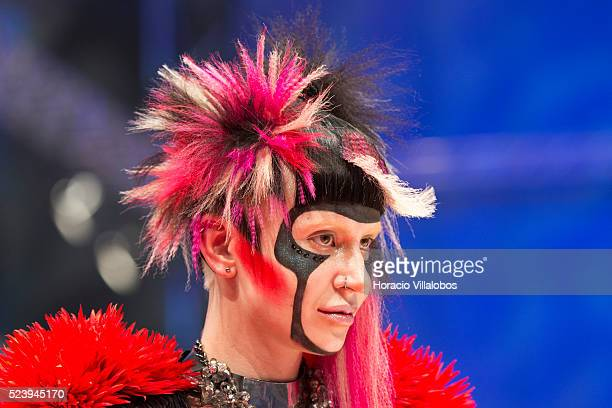 Models show hairstyles at the end of the Full Fashion Look Model competition at the first day of the Hairdressing World Championship, in Frankfurt,...