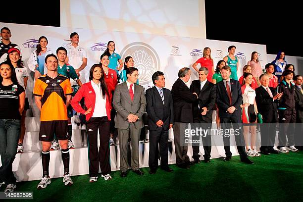 Models show on the catwalk the new mexican uniforms during the presentation of the uniforms that Mexican athletes will use in the Olympic Games of...