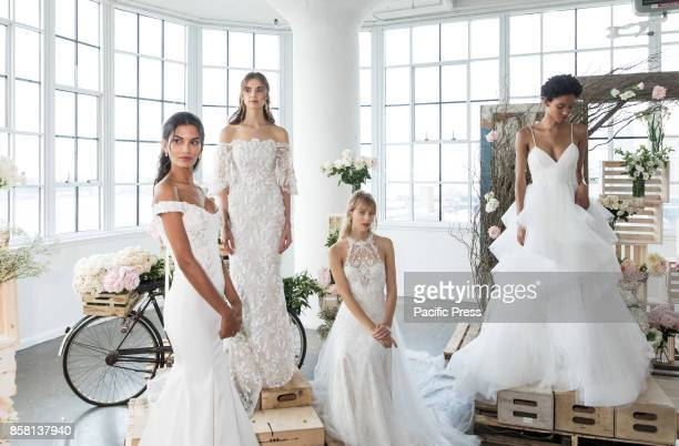 Models show out a dress by Georgina Chapman and Keren Craig for Marchesa and Notte Fall/Winter 2018 Bridal Presentation during New York Bridal Week...