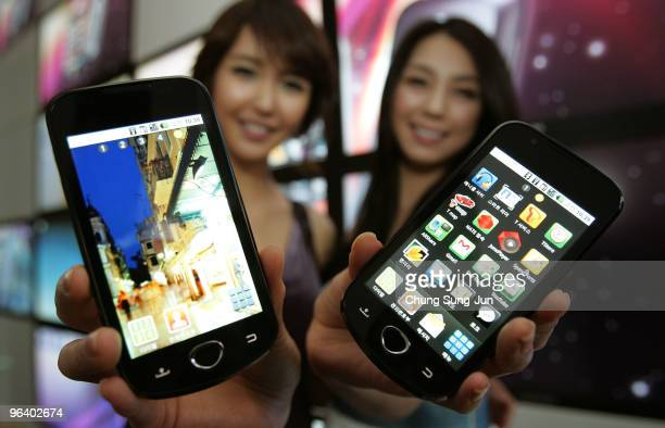 Models show Samsung Electronics Co's Android smartphones during the unveiling ceremony on February 4 2010 in Seoul South Korea Samsung aim to treble...