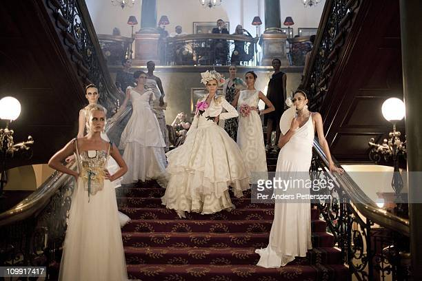 Models show the KLuK CGDT label fashion show at the Rand Club at Joburg Fashion Week on February 16 in Johannesburg South Africa KLuK CGDT created by...