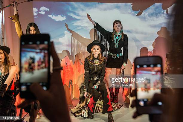 Models show work by designer Jessie Western at the begining of the punk themed 'On|Off Presents Punk Diversity' fashion show during London Fashion...
