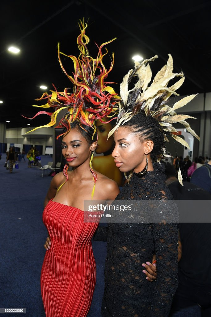 Models showcase a unique hairstyles at 70th Anniversary Bronner Brothers International Beauty Show Georgia World Congress Center on August 20, 2017 in Atlanta, Georgia.