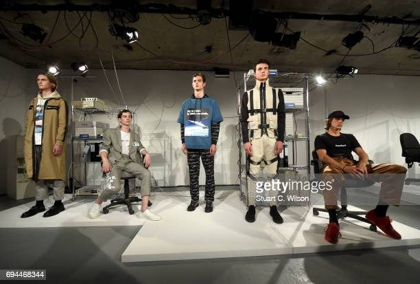 Models showcase designs at the Blood Brother presentation during the London Fashion Week Men's June 2017 collections on June 10 2017 in London England