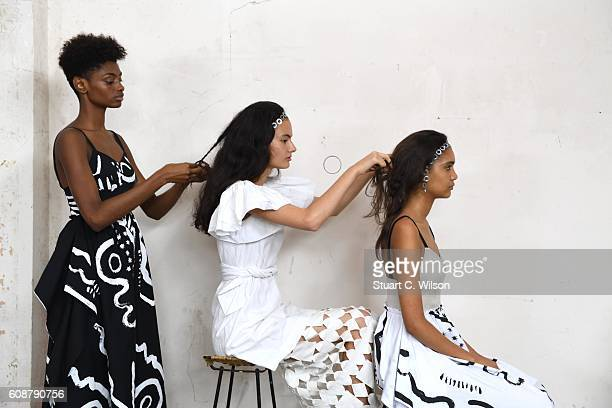 Models showcase designs at the Isa Arfen presentation during London Fashion Week Spring/Summer collections 2017 on September 20 2016 in London United...