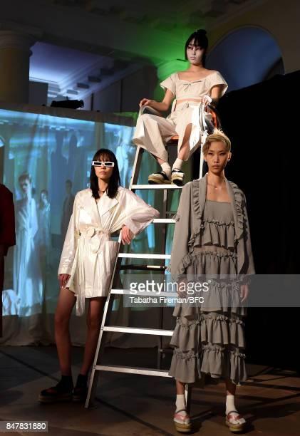 Models showcase designs at the Isa Arfen presentation during London Fashion Week September 2017 on September 16 2017 in London England