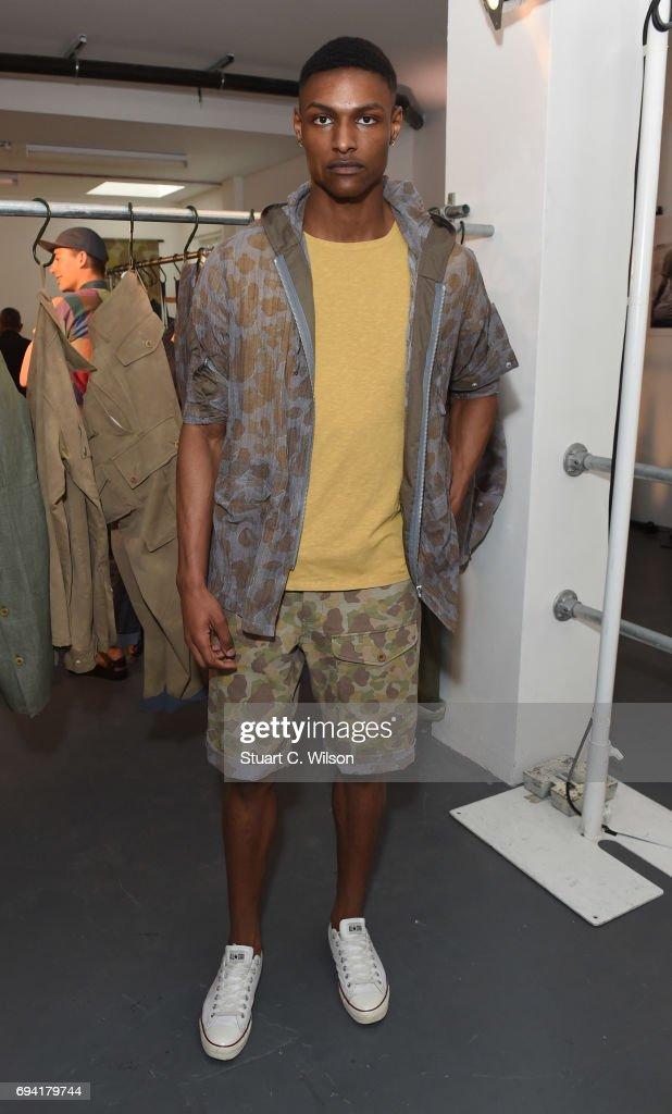 69e7f646af42 Models showcase designs at the Nigel Cabourn presentation during the ...