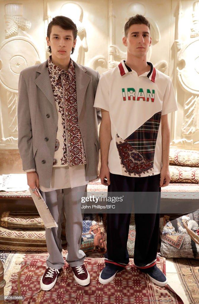 Models showcase designs at the Paria Farzaneh presentation during London Fashion Week Men's January 2018 at on January 8, 2018 in London, England.