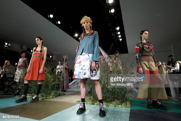 Models showcase designs at the Sadie Williams presentation during London Fashion Week September 2017 on September 16 2017 in London England