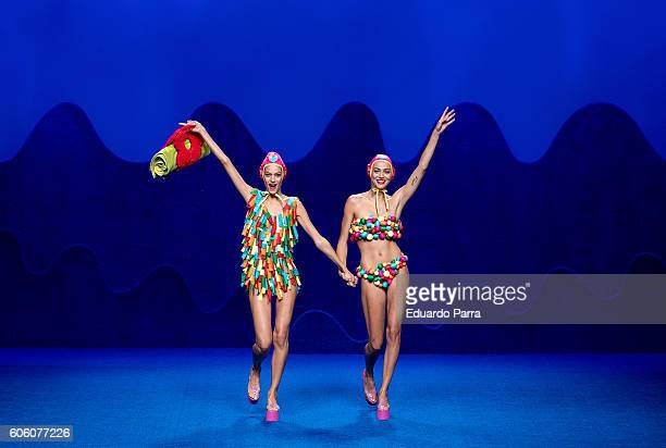 Models showcase designs by Agatha Ruiz de La Prada on the runway at the Agatha Ruiz de La Prada show during MercedesBenz Fashion Week Madrid...