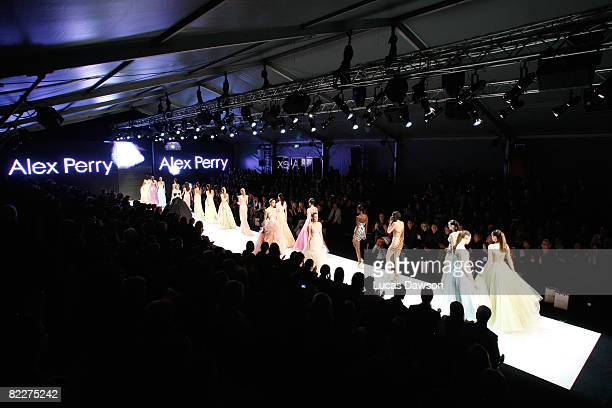 Models showcase designs by Alex Perry on the catwalk at the Fashion Targets Breast Cancer with Alex Perry and IMG Fashion gala event, celebrating 10...