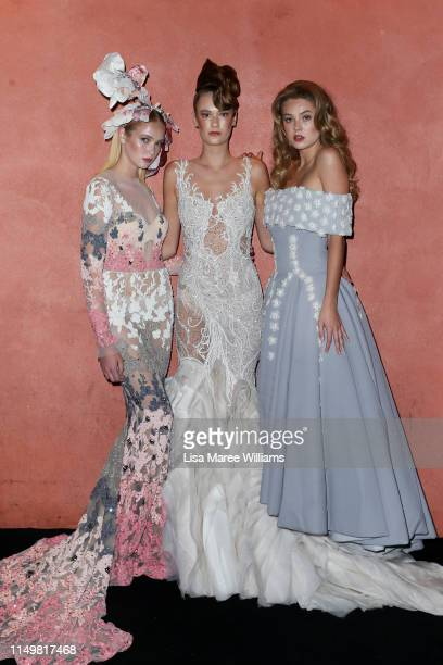 Models showcase designs by Alin Le Kal, Leah Da Gloria and Steven Khalil during the Fashion Palette 10th Anniversary Event on May 17, 2019 in Sydney,...
