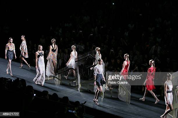 Models showcase designs by Alvarno on the runway at the Alvarno show during MercedesBenz Fashion Week Madrid Spring/Summer 2016 at Ifema on September...