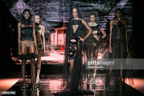 Models showcase designs by Andres Sarda on the runway at the Andres Sarda show during MercedesBenz Fashion Week Madrid Spring/Summer 2016 at Ifema on...