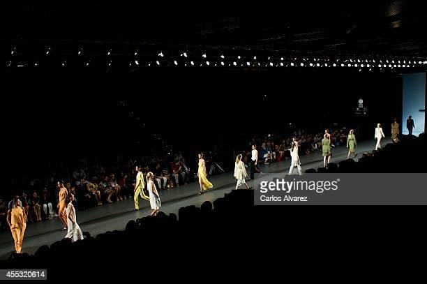 Models showcase designs by Angel Schlesser on the runway at Angel Schlesser show during Mercedes Benz Fashion Week Madrid Spring/Summer 2015 at Ifema...