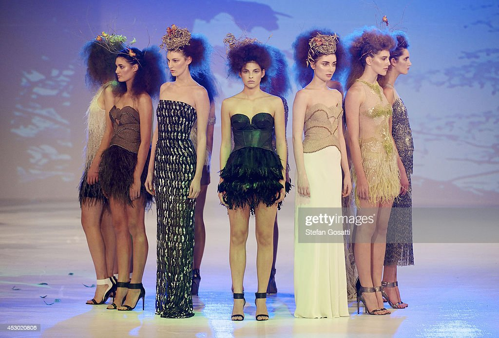 Models showcase designs by Aurelio Costarella on the catwalk during Styleaid Mythic at Crown on August 1, 2014 in Perth, Australia.