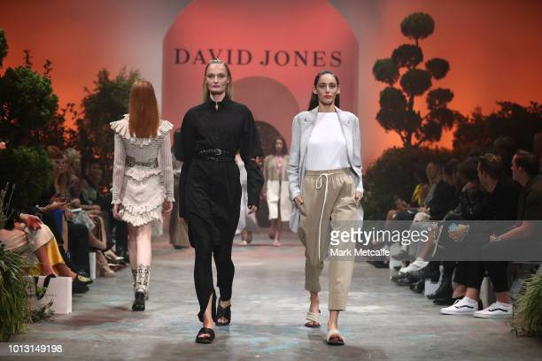 Models showcase designs by Bassike during the David Jones Spring Summer 18 Collections Launch at Fox Studios on August 8 2018 in Sydney Australia