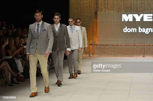 Models showcase designs by Dom Bagnato during the MYER Collection show as part of the the Mercedes-Benz Fashion festival Sydney 2012 at Sydney Town...