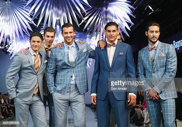 Models showcase designs by Dom Bagnato during the Myer Spring Summer 2014 Fashion Launch at Carriageworks on August 7, 2014 in Sydney, Australia.