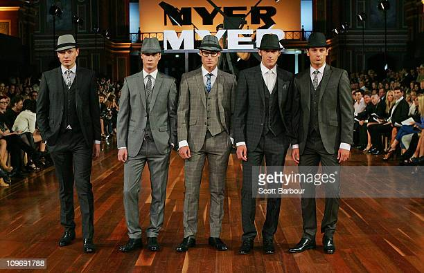 Models showcase designs by Dom Bagnato on the catwalk during the Myer Autumn/Winter Season Launch 2011 Show at The Royal Exhibition Building on March...