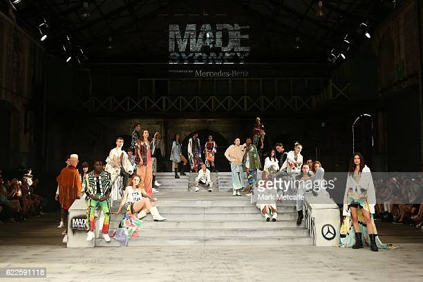 Models showcase designs by Faith Connection during MADE Sydney at Carriageworks on November 12 2016 in Sydney Australia