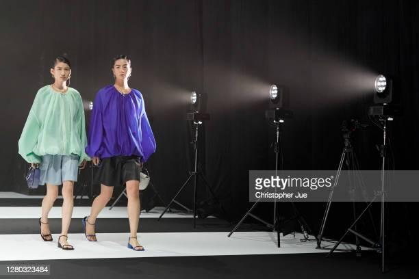 Models showcase designs by HARE on the runway during Rakuten Fashion Week TOKYO 2021 spring/summer on October 15, 2020 in Tokyo, Japan.