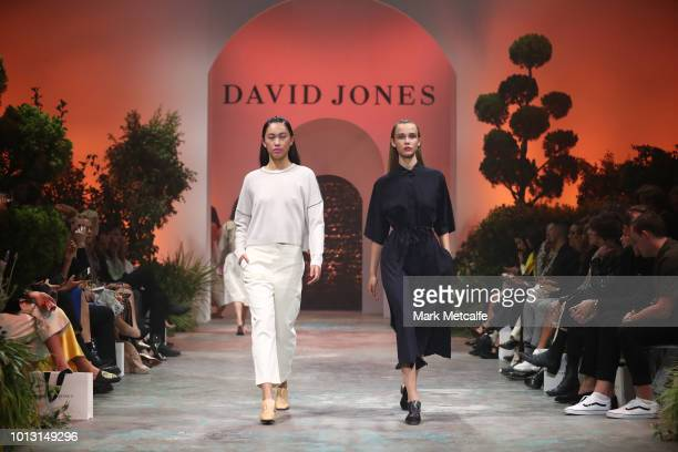 Models showcase designs by Jac Jack during the David Jones Spring Summer 18 Collections Launch at Fox Studios on August 8 2018 in Sydney Australia