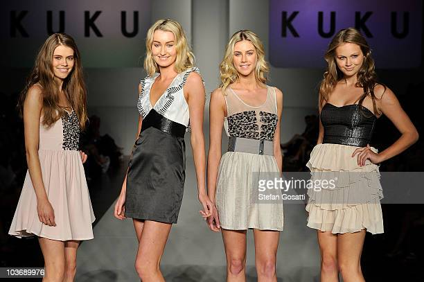 Models showcase designs by Kuku on the catwalk during the Myer Miss Shop group show as part of Rosemount Sydney Fashion Festival 2010 at Sydney Town...