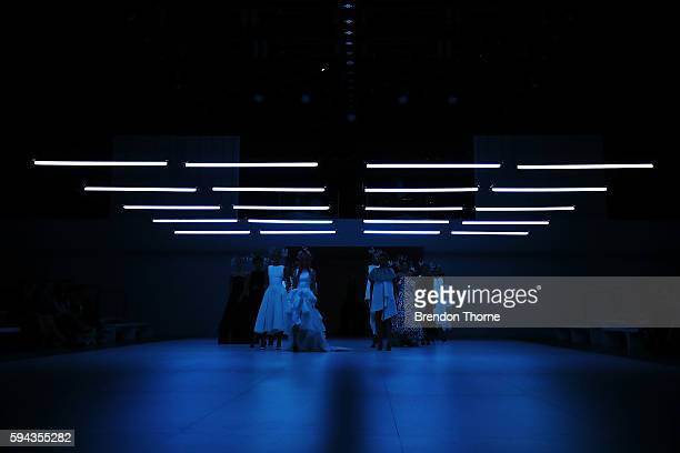 Models showcase designs by Maticevski during the Myer Spring 16 Fashion Launch at Hordern Pavilion on August 23 2016 in Sydney Australia