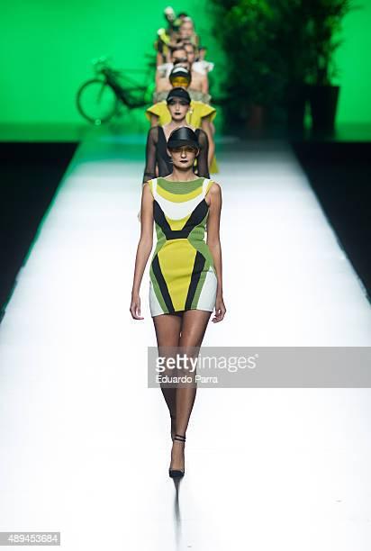 Models showcase designs by Maya Hansen on the runway at the Maya Hansen show during MercedesBenz Fashion Week Madrid Spring/Summer 2015/16 at Ifema...