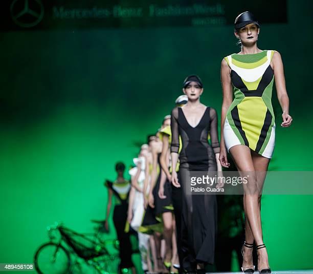 Models showcase designs by Maya Hansen on the runway at the Maya Hansen show during MercedesBenz Fashion Week Madrid Spring/Summer 2016 at Ifema on...