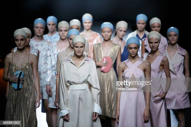 Models showcase designs by Moises Nieto on the runway during Mercedes Benz Fashion Week Madrid Spring/Summer 2015 at Ifema on September 13, 2014 in...