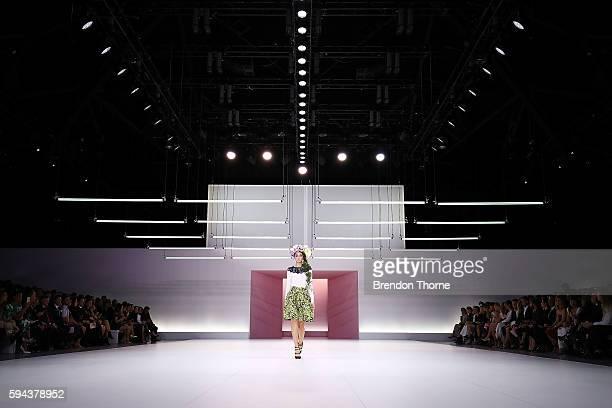 Models showcase designs by Oscar de la Renta during the Myer Spring 16 Fashion Launch at Hordern Pavilion on August 23 2016 in Sydney Australia