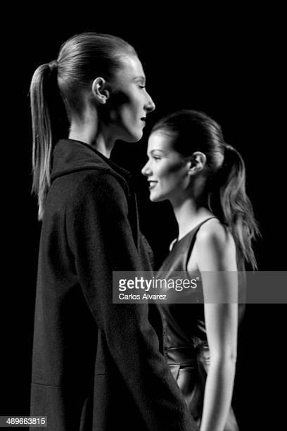 Models showcase designs by Roberto Torretta on the runway at Roberto Torretta show during Mercedes Benz Fashion Week Madrid Fall/Winter 2014 at Ifema...