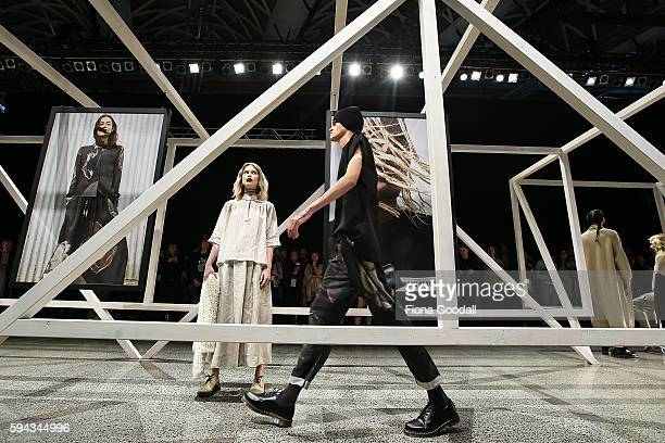 Models showcase designs by Salasai on the runway during 2016 New Zealand Fashion Week on August 22 2016 in Auckland New Zealand